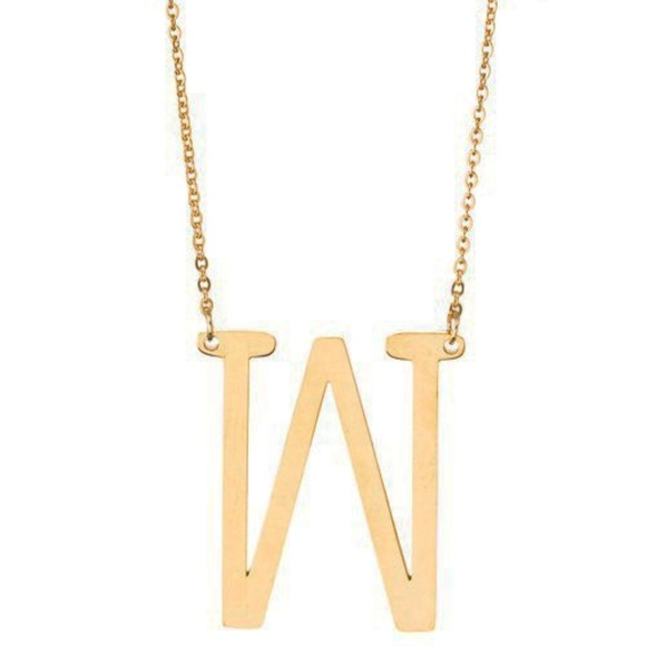 Girly Jewelry - Block Letter Monogram Necklace - W
